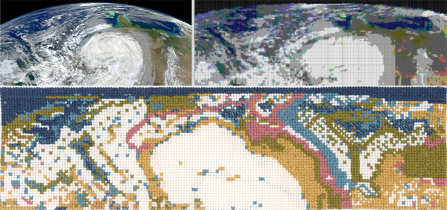 Miriam chose a satellite image of Hurricane Sandy to represent the cosmic chaos preceding Creation Day 1.